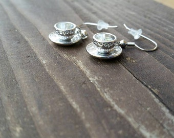 I'm a little tea cup earrings - silver alloy tea cup and attached saucer charm earrings - fashion accessories - tea time gift ideas