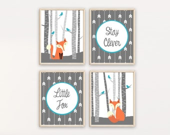 Woodland Nursery Fox, stay clever little fox quote, Fox Decor, Fox Nursery Art, Woodland animals  Nursery Art, Set of 4 prints, H157