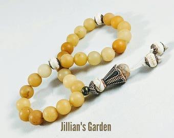 Yellow matte jade pocket mala beads, 27 yellow mala beads, mala prayer beads, Free US Shipping,solar plexus chakra mala beads, meditation