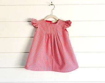 Red Gingham Dress, Girls Little Red Riding Hood Dress, Baby Red Gingham Dress, Red Riding Hood Costume, red baby dress, red valentines dress