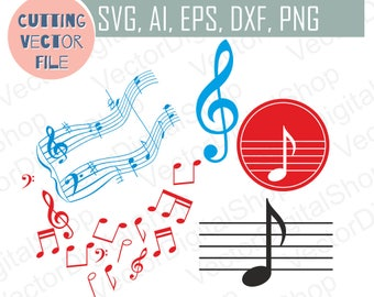 Musical Note Symbol SVG, Sheet Music, Note Silhouettes SVG, Vector Music elements, Design element, Cutting Download Printable File