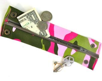 Money Wrist Cuff- Secret Stash- Pink Camouflage- hide your cash, key, jewels in a hidden zipper