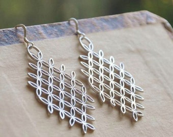 Silver Trellis Earrings - Silver Modern Earrings, Dainty Earrings, Silver Earrings, Contemporary Earrings