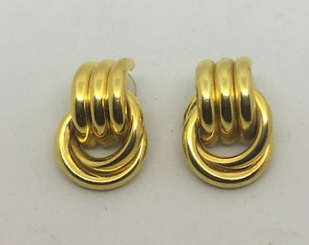 Vintage Gold Tone Statement Clip On Earrings