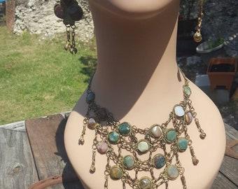 Vintage Bib Necklace / Chandelier Necklace with Dangle Drop Earrings / Jewelry Set / Pebble / Stone / Rock Jewelry