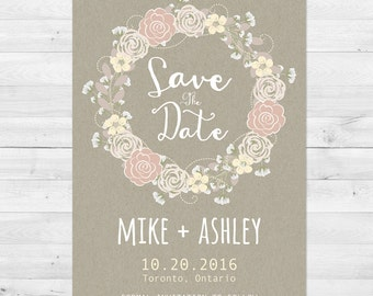 Save The Date Cards, Rustic Save The Date, Postcard, Save The Date Invitation, Wedding, DIY, Kraft Paper, Save The Date