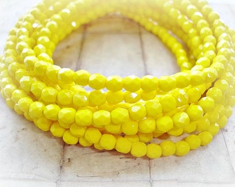 20 Bright Yellow Oval Czech Glass Beads Faceted Beads Fire Polished 5 mm