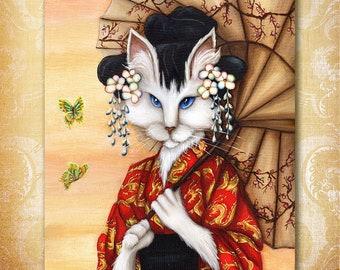 Japanese Cat Art, White Cat Wearing Red Kimono with Gold Dragons 8x10 Fine Art Print