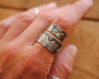 Mountain Range Wrap Around Ring | Sterling Silver