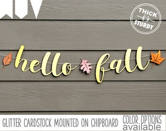 Hello Fall banner, fall banner, thanksgiving decorations, gold glitter party decorations, cursive banner