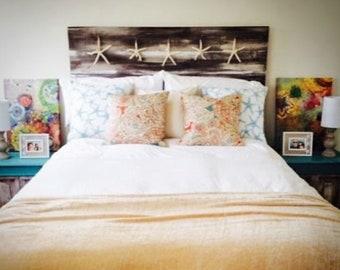 Coastal headboard beachy whitewashed starfish beach house nautical rustic driftwood ocean style farmhouse king queen twin full bed