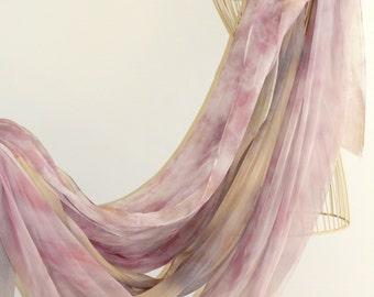 Eco dyed Tissue Silk (Chiffon)  fabric hand dyed