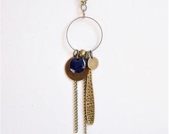 Necklace dark blue enameled sequin