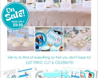 Frozen Birthday Party Decorations | Frozen Party Printable | Frozen Banner | Frozen Party Favor | Frozen Centerpiece | Amandas Parties To Go