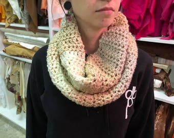 Handmade - Ombre beige neutral cowl neck crocheted scarf