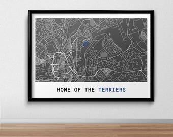 Huddersfield Football Poster, Football Poster, Football Print, gift, Map Print,  Present