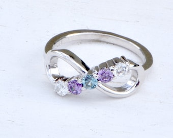 Infinity Birthstone Ring, Birthstone Infinity, Five Stone Ring, Mothers Jewelry, Family Ring, Gift for Mom, Gift For Her, Gemstone Ring