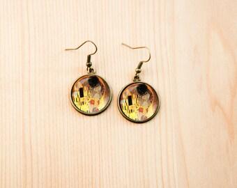 Gustav Klimt Kiss earrings yellow present gift art artist round