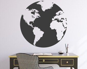 "Wall Decal 22""W Globe World Map Wall Vinyl Sticker"