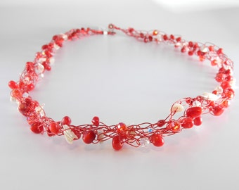 Red Coral & Mother of Pearl Wire Crochet Necklace