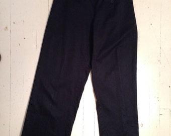 Navy Blue, Button-Front Cotton-Blend, Navy Pants