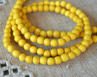 100pcs 8mm Dark Yellow Wood Natural Beads Round Macrame Bead