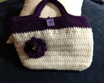 Purple and White Purse