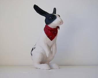 Dandy, a rabbit sculpture - mixed media, paper mache