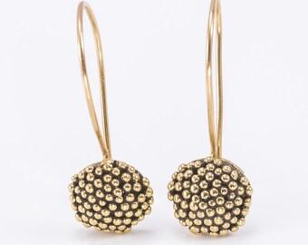 solid gold earrings,gold earrings,dangle gold earrings,delicate gold earrings,gold spots earrings