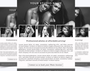 Photography Flyer Template 007 for Photoshop 8.5 x 11 - Photographer Template - Photography Template