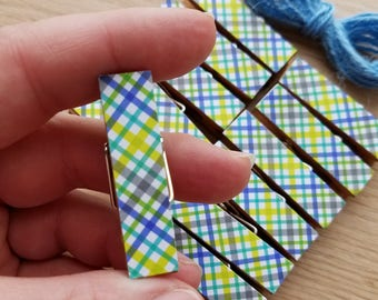 Blue and Green Preppy Plaid - Boy Baby First Birthday Shower - Chunky Little Clothespin Clips w Twine for Display - Set of 12