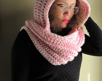 The Riding Hood > Scarf > Hooded Scarf > Scarf with Hood > Hoodie > Scoodie > Crochet Scarf > Crochet Hood > Winter Accessories > Pink Scarf