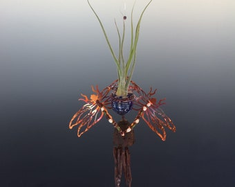 Copper Double Dragonfly Sculpture with Blown Glass Bottle & Obsidian Wind Chimes - Makes a Great Air Plant Holder or Essential Oil Diffuser