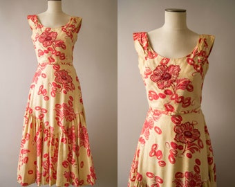vintage 1940s dress / 40s polished cotton flamenco dress / medium /