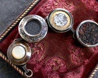 Antique Drum button bracelet vintage jewelry raised glass insets victorian edwardian glass centers brass rims raised statement rare unusual