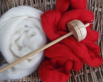 Drop Spindles and Spindle kits Scarlet Red and Cream