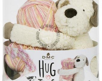 Knit Pattern & Kit, DMC Hug This, Puppy Stuffed Animal, Baby Blanket Yarn, Yarn Kit Puppy, Baby Blanket Kit, Plush Toy, Variegated Yarn Kit