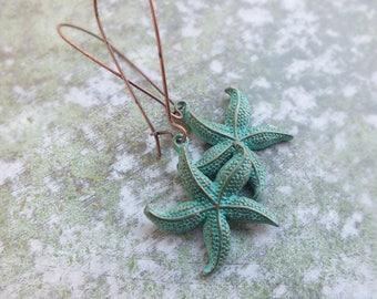 Starfish Earrings, Patina earrings, Rustic Bohemian Earrings,Long Earrings, Copper Earrings, Dangle copper earrings