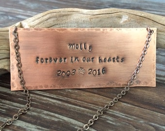 Pet Memorial Plaque or Hanging Sign - Rustic Copper Stamped Metal Label Tag For Urn or Wall - Customizable & Personalized