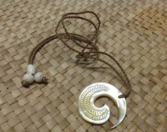 Maori 45mm MOP Shell Spiral With Adjustable Brown Cord Necklace. Perfect For Both Male & Female. Maori Dancers, Gift, Luau, Dancers!!.