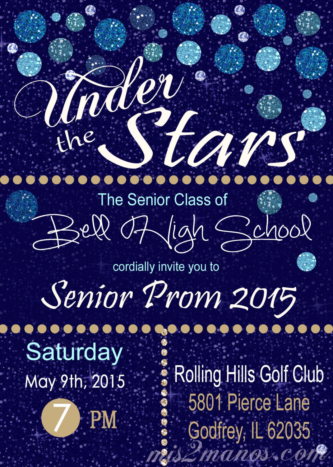 Under The Stars Invitation Graduation Invitation or Prom