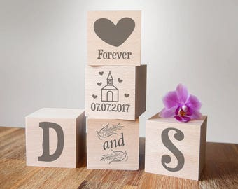 Wedding gift, personalized cubes, wedding cubes