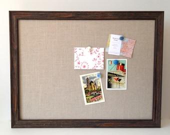 OVERSIZE barn wood magnetic bulletin board, sophisticated rustic decor, office decor, place card display, framed magnet board, beige linen