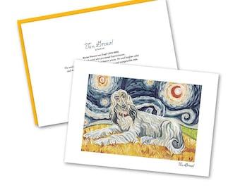 AFGHAN HOUND (Cream) Boxed Note Card Set—Van Growl Starry Night Series