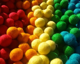 Rainbow Felted Wool Balls, Learning Colors, Sorting, Counting, Preschool,