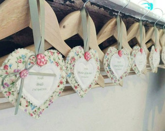 Wedding hanger tags, personalised hangers, bridesmaid hangers,  favours, wedding dress hanger tag,  keepsakes and momentos