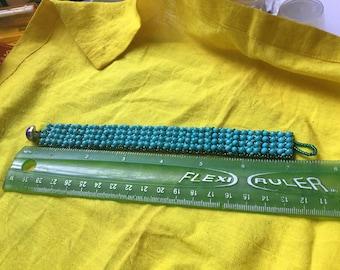 Aqua Blue Handmade Netted Bracelet