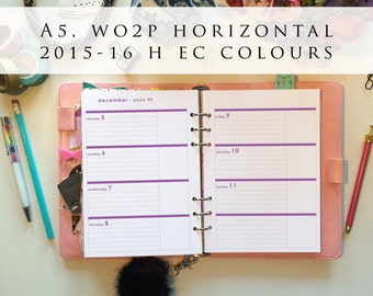 A5 planner inserts - week on 2 pages (WO2P), horizontal, Mon-Sun, 2015/16 H EC colours, pre-punched (A5h.3)