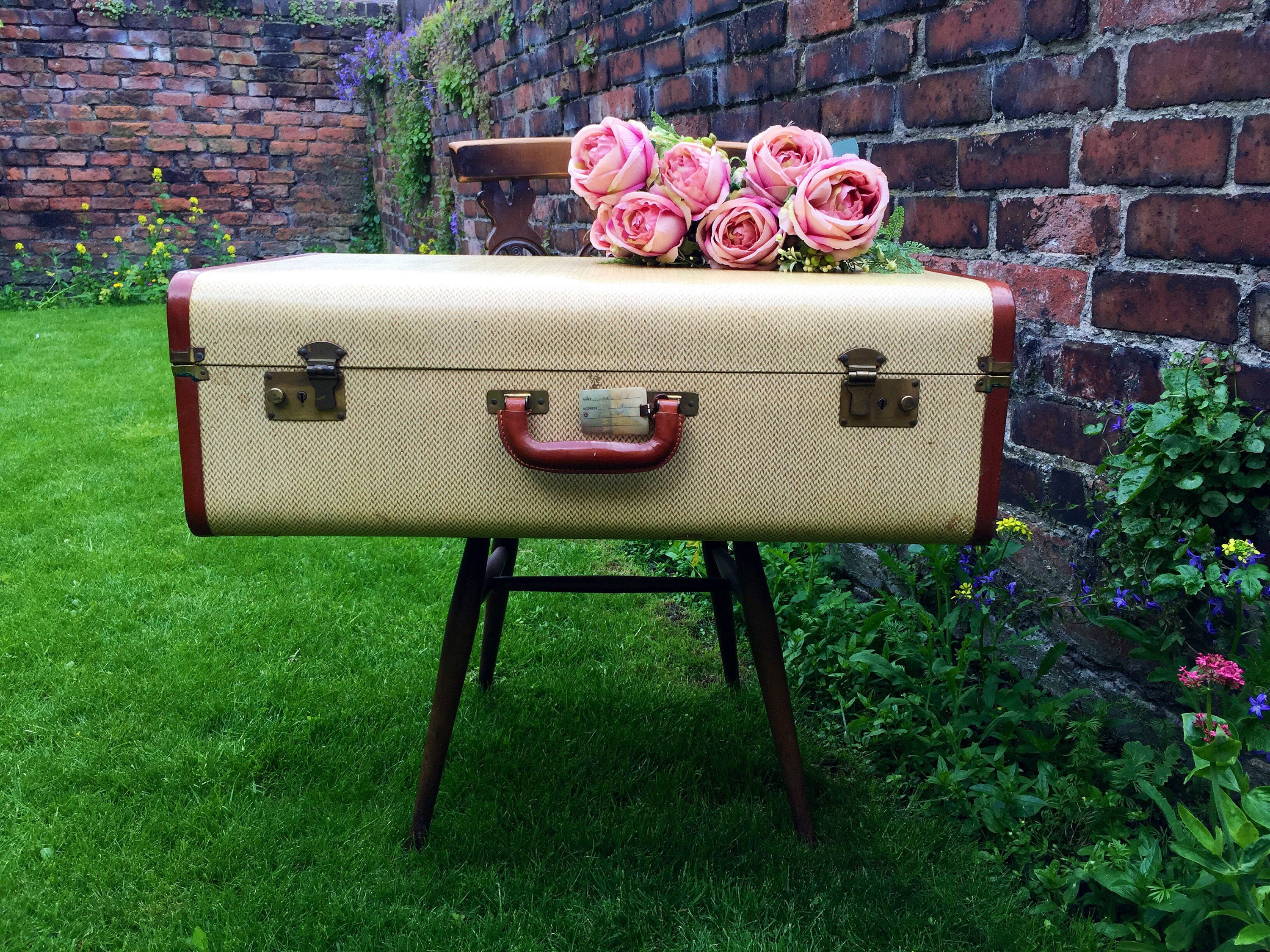 SOLD SOLD SOLD   Pale Yellow And Cream Suitcase Trunk With Tan Brown Trim    Vintage Trunk   Vintage Suitcase   Vintage Luggage   Home Decor