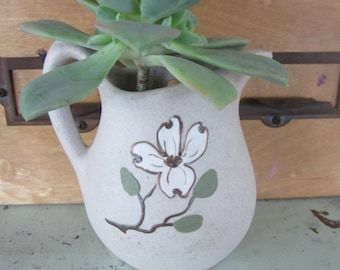 Vintage Stoneware Wall Pocket Pitcher Shaped with Dogwood Flower Pigeon Forge Pottery Made in Tennesse